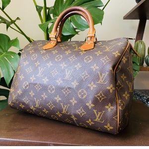 LOUIS VUITTON speedy 30 Vtg mono satchel bag purse